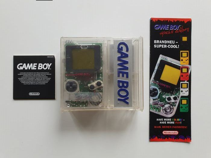 Nintendo dmg-01 1989 Rare Hard Box +Extremely Rare Transparent Edition - Gameboy Classic Limited Edition Transparent matching serial - In original box