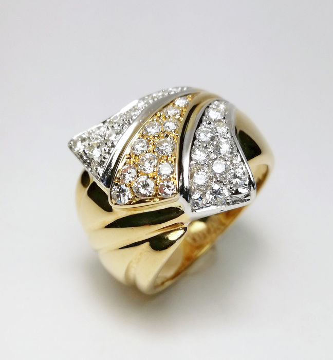 18 quilates Oro amarillo, Oro blanco - Anillo - 0.90 ct Diamante - Diamante
