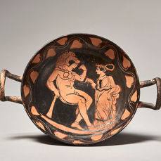 Ancient Greek Ceramic Apulian Red-Figure Kylix with TL - 21×15.2×6 cm - (1)