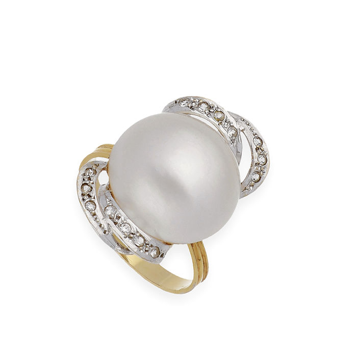18 ct. Bicolor, Mabe pearl - Inel - 0.20 ct Diamant