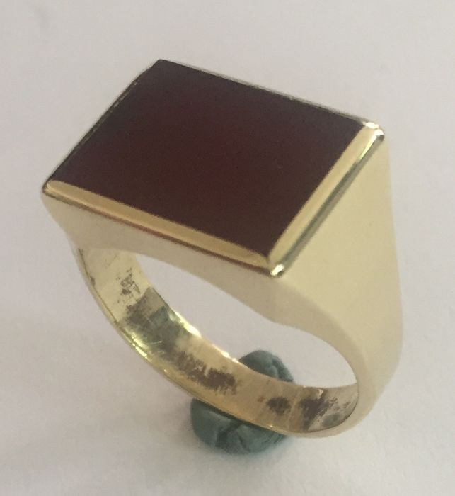 14 carats Or jaune - Bague cornaline, agate brune