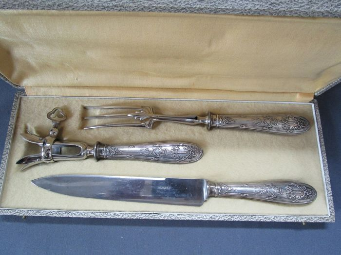 Carving set, Carving set & bone holder - original packaging (3) - .950 silver - France - Late 19th century