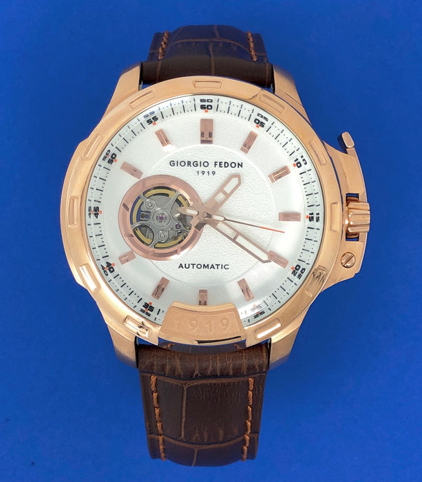 Giorgio Fedon 1919 - Automatic Timeless IV white Dial Brown Leather strap  - GFBG008 - Homem - Brand New