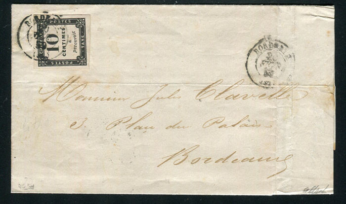 Frankreich 1859 - Rare letter from Bordeaux signed Calves with postage due stamp no.1