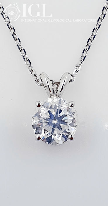 14 kt. White gold - Necklace with pendant - 1.76 ct Diamond - No Reserve