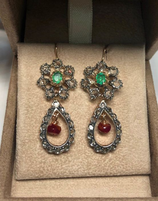 Pink gold, Silver - Earrings - 1.00 ct Emerald - Diamonds, Rubys