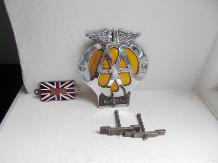 Badge - Vintage  AA chrome on brass car badge with brass fixings and a TVR chrome and enamel car  badge  - 1960-1979