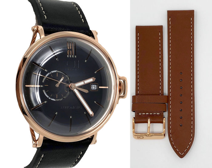01 The One - Automatic 46mm Black face Rose gold plated Leather 2 straps - A302L2 - Men - BRAND NEW
