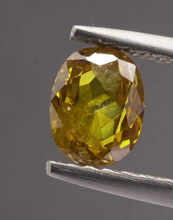 1 pcs Diamanti - 0.55 ct - Ovale, variante - fancy intens orangy yellow - I2 No Reserve