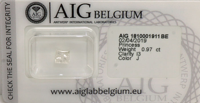 1 pcs Diamanti - 0.97 ct - Princess Cut - J - I3- No reserve