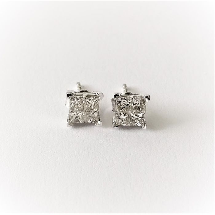 14 kt. White gold - Earrings - 0.62 ct Diamond