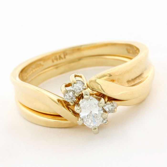 14 carats Or jaune - Bague - 0.33 ct Diamant