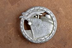 "Germany - Navy - Kriegsmarine blockade runner badge by B.H. Mayer marked ""26"" Rare - 1943"