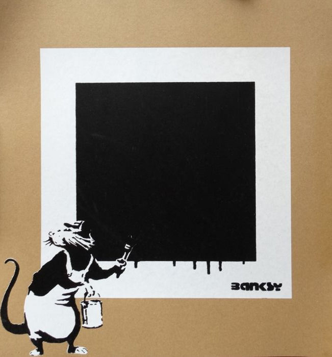 Not Not Banksy / STOT21stcplanB - Rat with NOT black Square