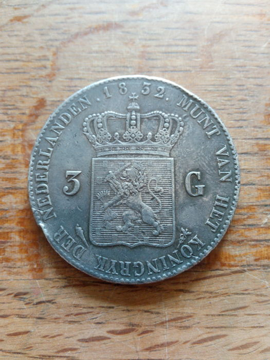 The Netherlands - 3 Gulden 1832 uit 1821 (sch 250c) Willem I - Silver