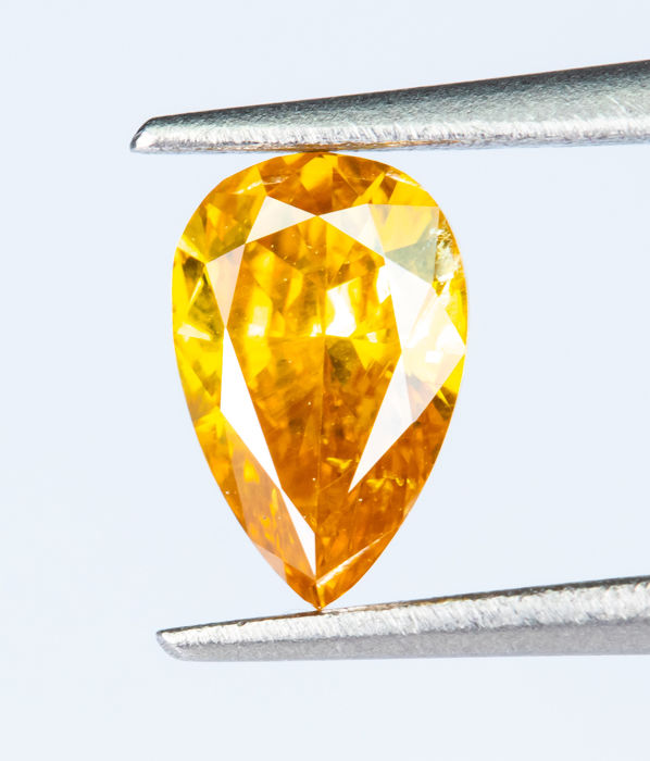 Diamant - 0.25 ct - Natural Fancy INTENSE Orangy Yellow - SI1  *NO RESERVE*