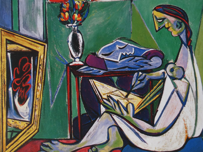 Pablo Picasso (after) - Woman Drawing Before a Mirror