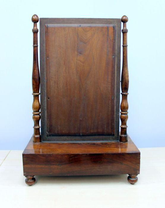 An Antique Toilet Furniture Rotating Mirror With Drawer