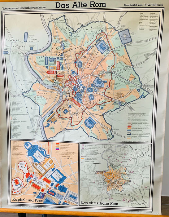 Das Alte Rom (Old Rome), School map - Canvas Covered with Paper, Wooden frame