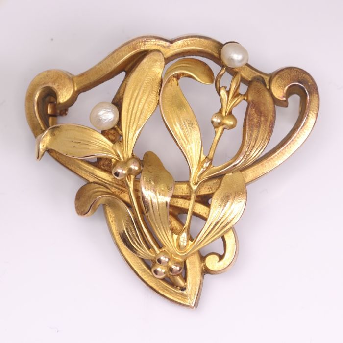 Gold-plated - Art Nouveau Mistletoe - Anno 1900 -, Brooch Pearls - NO RESERVE PRICE