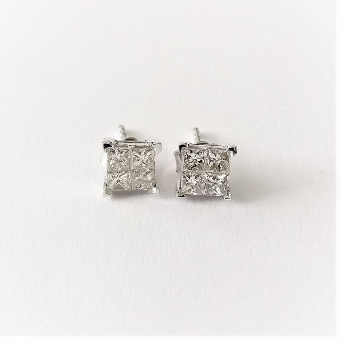 14 kt. White gold - Earrings - 0.66 ct Diamond