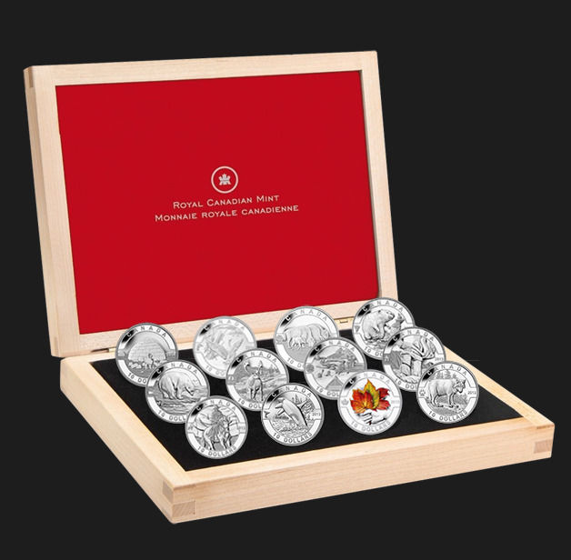 Canada - 10 Dollars 2013/14 'O Canada Series - Animals & Culture '' (12 coins) in Deluxe wooden box - Zilver
