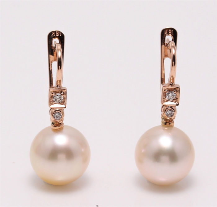 NO RESERVE PRICE - 18 karaat Rose goud - 10x11mm Champagne Golden South Sea Pearls - Oorbellen - 0.07 ct