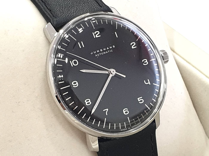 """Junghans - """" NO RESERVE PRICE """" Max Bill Automatic - Steel & Black Dial - Genuine Leather - 027/3400.00 - Made In Germany - Men - 2011-present"""