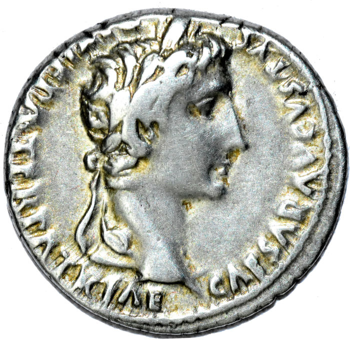 Used, Roman Empire - AR Denarius, Augustus. 27 BC-AD 14. Lugdunum (Lyon) mint. Struck 2 BC-AD for sale
