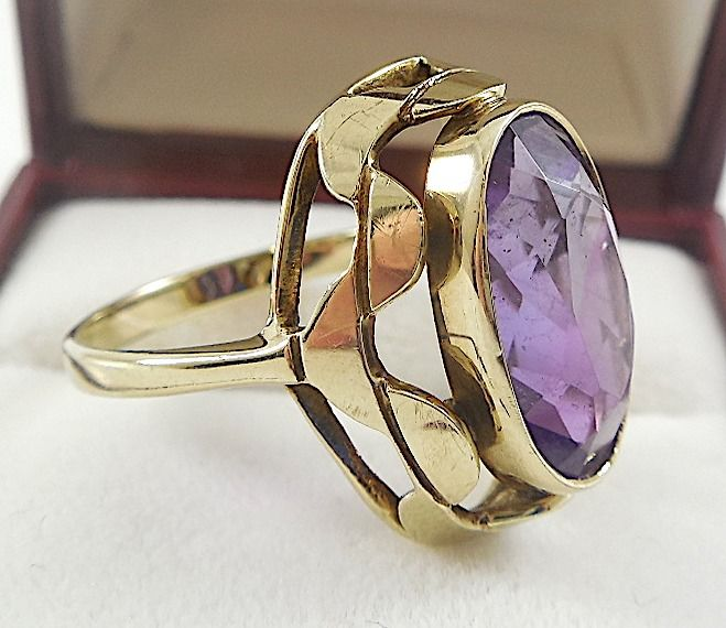 8 kt. Yellow gold - Ring - 5.07 ct Amethyst