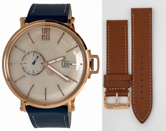 01 The One - Automatic 46mm IP Rose Gold Blue Leather Strap plus extra Brown strap  - A304L5 - Heren - 2011-heden
