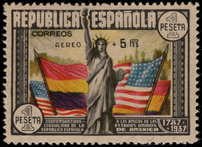 Spanje 1938 - Anniversary of the Constitution of the USA. 'Aéreo + 5 pts' Overcharge. 1 pta Multicoloured. Roig - Edifil 765