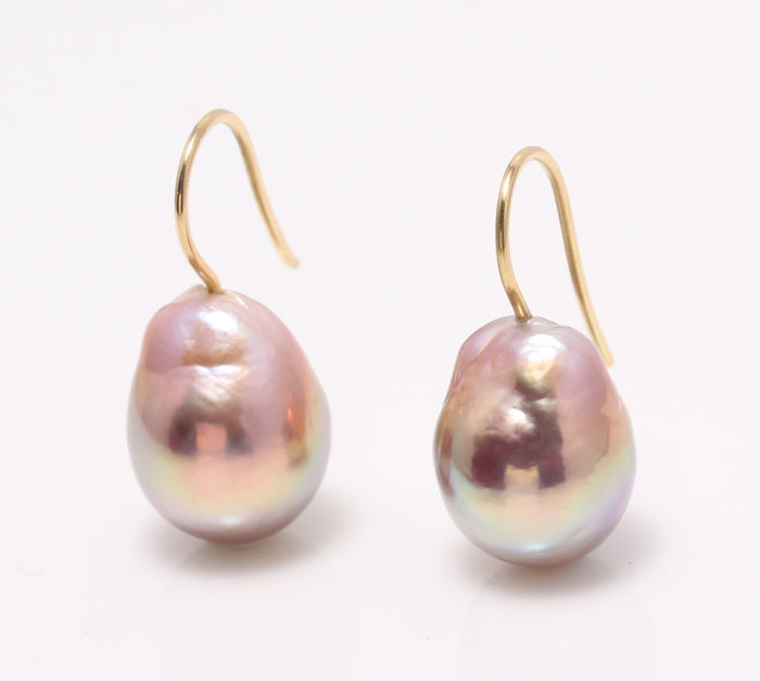 NO RESERVE PRICE - 18 kt. Yellow Gold - 11x12mm Beautiful Colour Cultured Pearls - Earrings