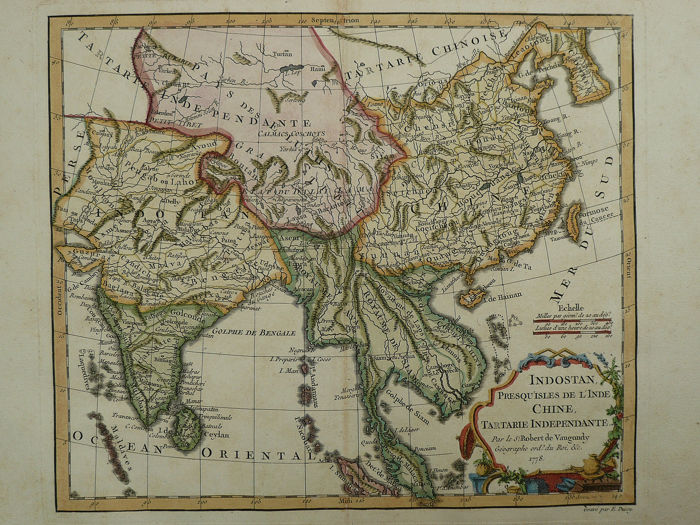 Ásia, China, Indochine; Robert de Vaugondy / le Sr. Fortin - Indostan Presqu' Isles de L'Inde, Chine, Tartarie Independante - 1778