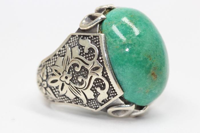 925 Zilver - Ring - 30.00 ct Turquoise