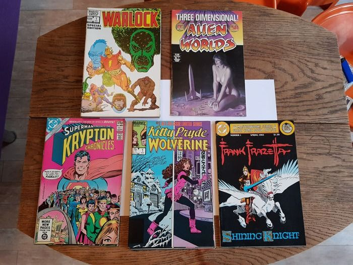 Kitty Pride and Wolverine, Red Sonja she-devil with a sword (2 different series), The masterwork - 7 different us comic series, eighties - Stapled - First editions in these editions - (1975/1984)
