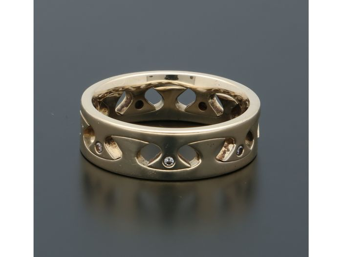 14 kt. Yellow gold - Ring - 0.04 ct Diamond