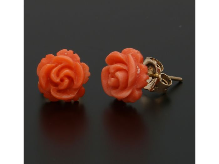 14 kt. Gold - Earrings Blood coral