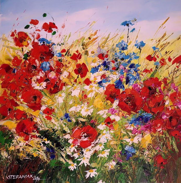 Małgorzata Stefaniak - Red Poppies in the Meadow