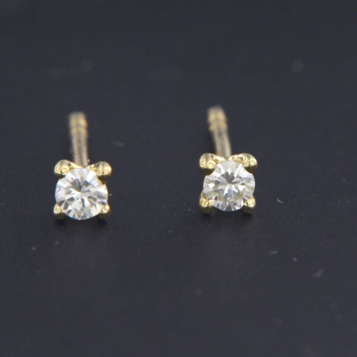 18 quilates Oro amarillo - Pendientes - 0.12 ct Diamante