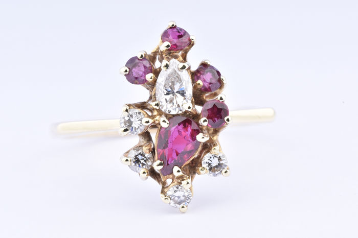 18 kt. Yellow gold - Ring Diamond - Diamond, Ruby