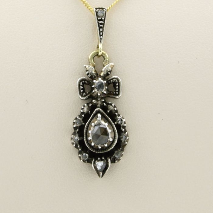 14 kt. Silver, Yellow gold - Necklace with pendant - 0.20 ct Diamond