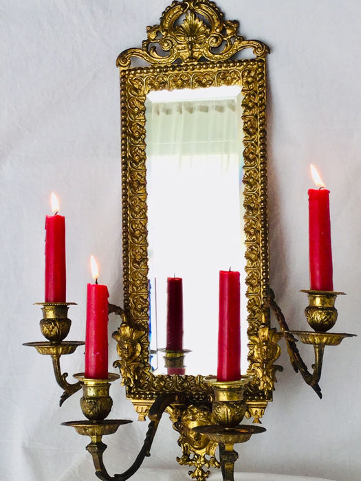 Sierlijk gedetailleerd - Wall candlestick with mirror, applique with ornate elaborate details - Louis XVI Style