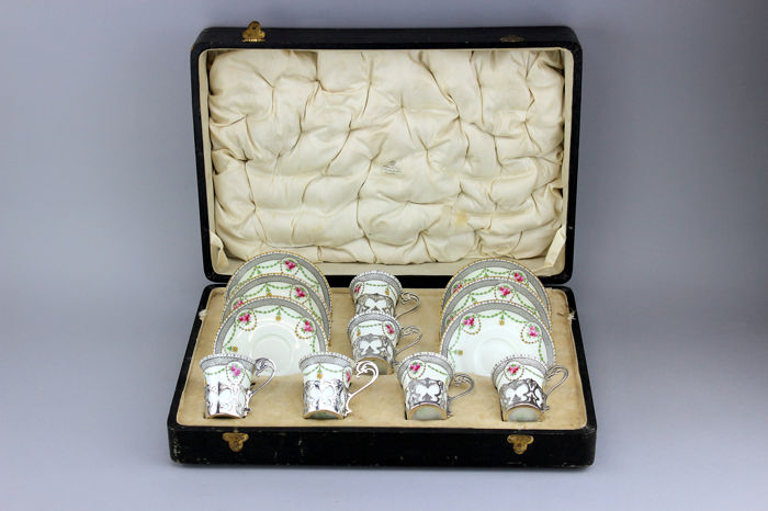 Tea set - Josiah Williams & Co, London - Porcelain, Silver - 1917- 1918