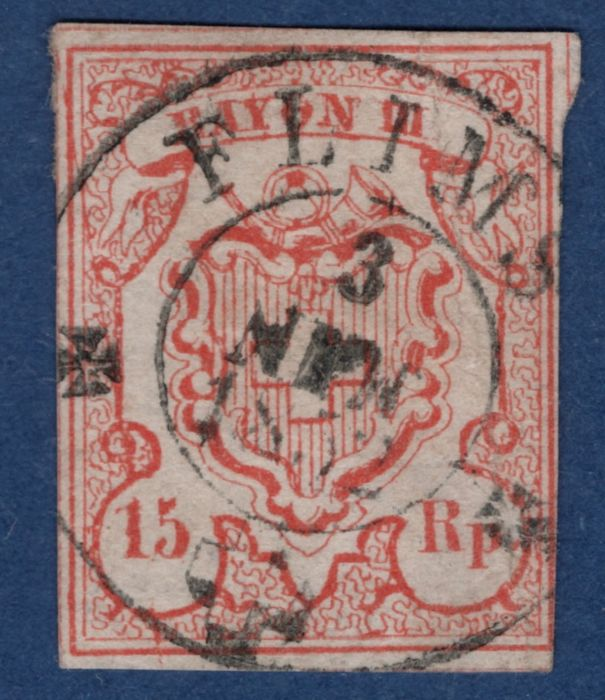 "Zwitserland 1850 - Rayon III - so-called ""low-value digit"" with the double circle from Flims - Zumstein 18.a.2.01"