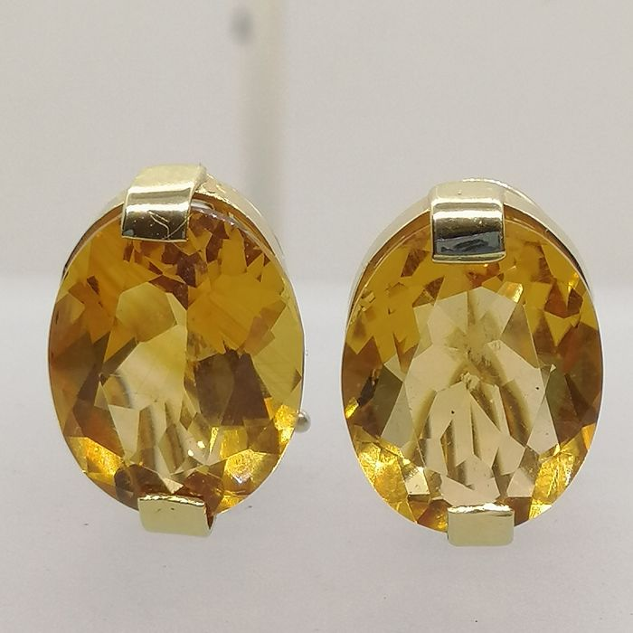 18 kt. Gold - Earrings Citrine