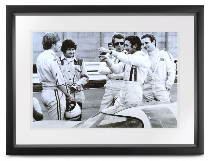 1971 'Le Mans' movie set with Steve McQueen and Jo Siffert - 24h Le Mans - (signed) Derek Bell - Photograph