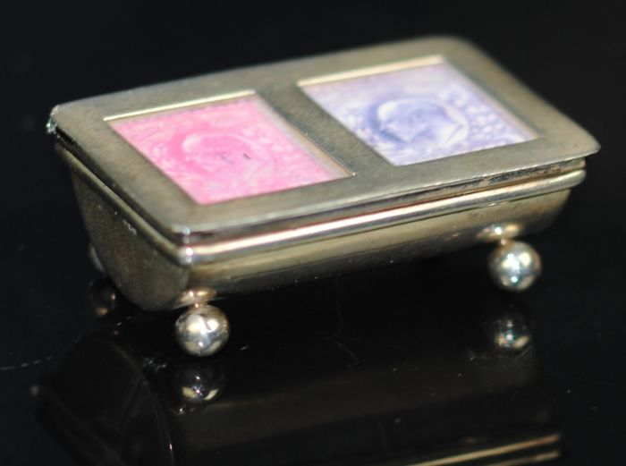 Victorian Dual Stamp Compartment Novelty Box - .925 silver - England - Late 19th century