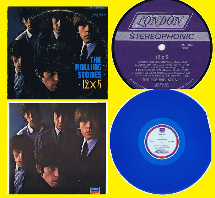 THE ROLLING STONES  - 1. 12X5 (1964) 2. No. 2 (transparent blue vinyl) (1965) - lot of 2 LPs - 1964/1965
