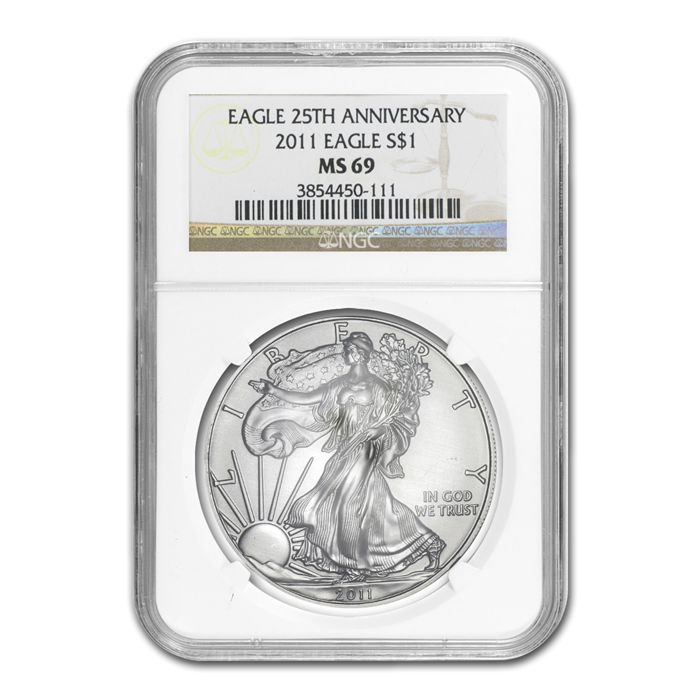 USA - 1  Dollar 2011 American Eagle NGC MS-69 First Releases 25th Anniversary - Silver